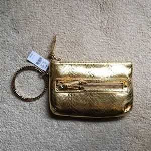 NWT express gold wristlet clutch